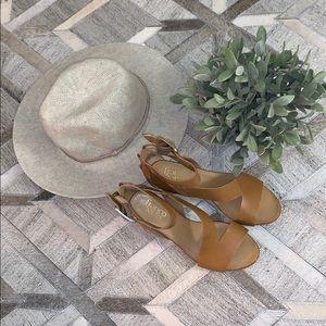 Franco Sarto Nude Cross Strap Zip Sandals